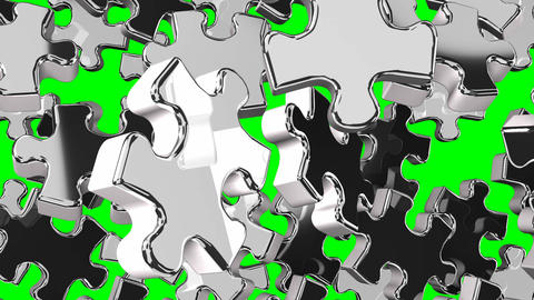 Silver Jigsaw Puzzle On Green Chroma Key CG動画素材