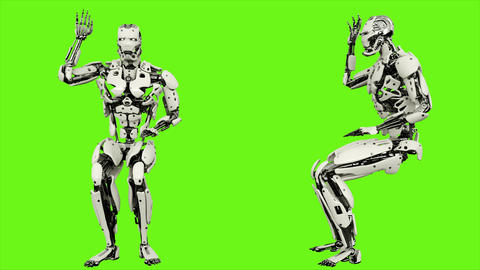 Robot android is asking question. Realistic looped motion on green screen Animation