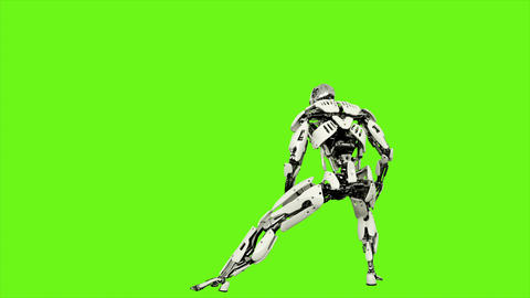 Robot android is launches a ball of energy. Realistic looped motion on green Animation