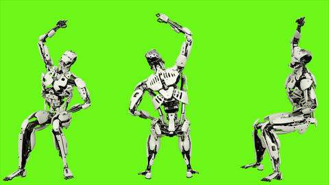 Robot android is cheering while sitting. Realistic looped motion on green screen Animation