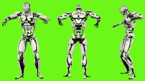 Robot android is defeated. Realistic looped motion on green screen background. Animation