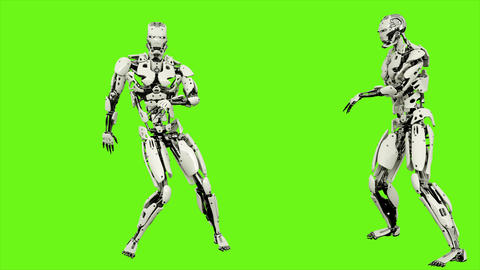 Robot android is dancing hip hop. Realistic looped motion on green screen