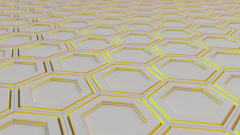 Wall of white hexagons with yellow glow Animation
