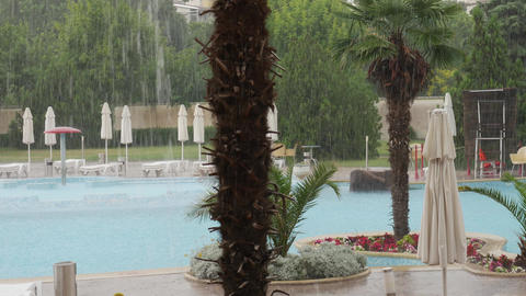 Raining on aqua park complex - bad weather in summer Footage