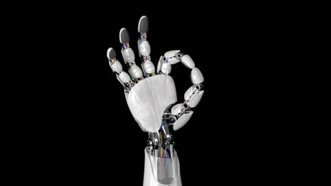 Robotic Hand Shows Okay Sign on a Black Background Animation