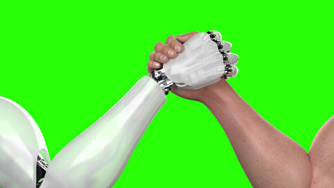 Human Against Robot, Arm Wrestling Competition, the Robot Wins Animation