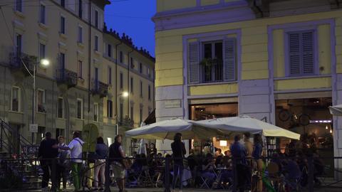 Milan, Italy Naviglio Grande at night ビデオ