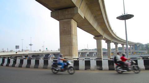 Timelapse shot on Heavy traffic crossing a bridge, Busy rush hour street scene Footage
