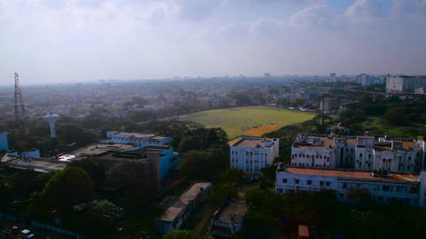 aerial view of chennai marina beach from Light House Footage