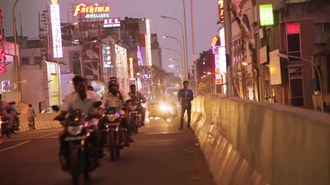 Indian City Night Road Traffic, City center rush hour traffic in Night time, Live Action
