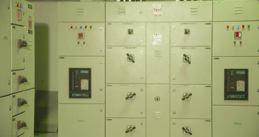 Electrical switch gear room,Industrial electrical switch panel on plant and Live Action