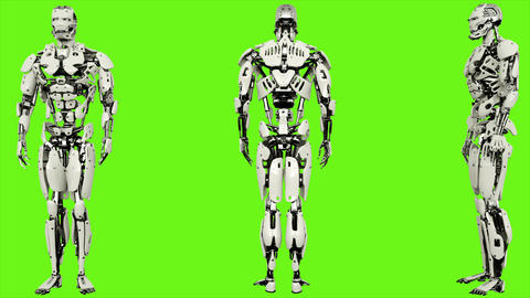 Robot android is entering code. Realistic looped motion on green screen GIF