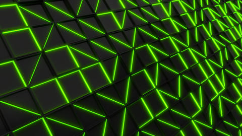 Wall of black rectangle tiles with green glowing elements Animation