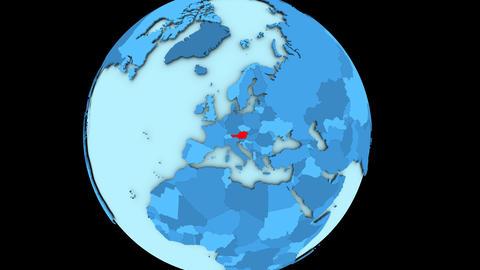 Austria on blue planet Animation