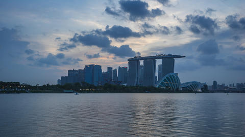 Timelapse of Singapore city skyline view from Marina Barrage in Singapore city, Footage