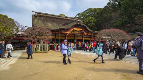 People are traveling in Dazaifu Shrine in Fukuoka, Japan Live Action