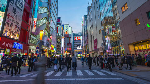 Crowd of Japanese people and the tourist in Akihabara, Tokyo, Japan ビデオ