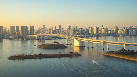 Time lapse video of Tokyo bay city skyline in Tokyo, Japan Footage
