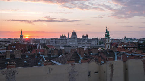 Night to Day timelapse of Budapest city skyline with view Parliament Building in Footage