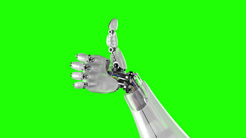 Robotic Hand Giving Thumbs Up on a Black and Green Backgrounds Animation