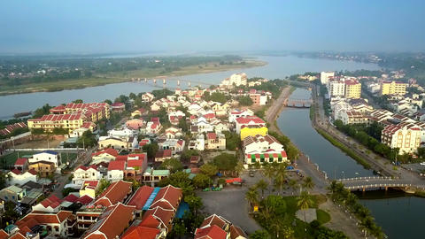 Hoian historic district between river and channel Live Action