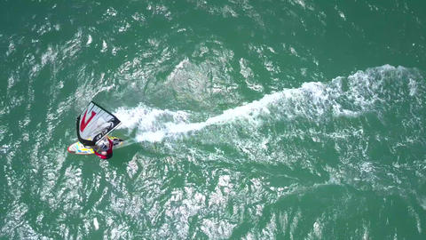 close view windsurfer catches strong wind on ocean Footage