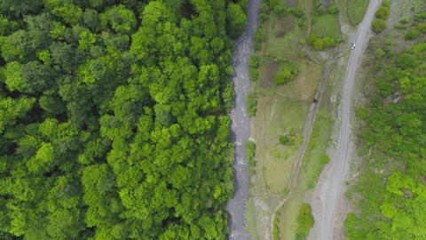 Aerial Shot Beautiful Forest River and Road Stock Video Footage