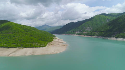 Aerial View of Lake in Mountains Stock Video Footage