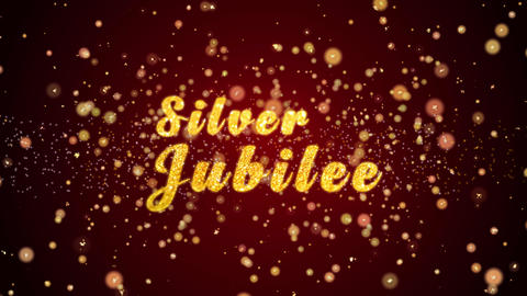 Silver Jubilee Greeting card text shiny particles for celebration,festival CG動画素材