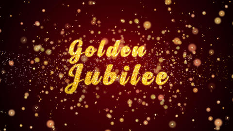Golden Jubilee Greeting card text shiny particles for celebration,festival Animation