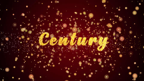 Century Greeting card text shiny particles for celebration,festival Animation