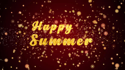 Happy Summer Greeting card text shiny particles for celebration,festival Animation