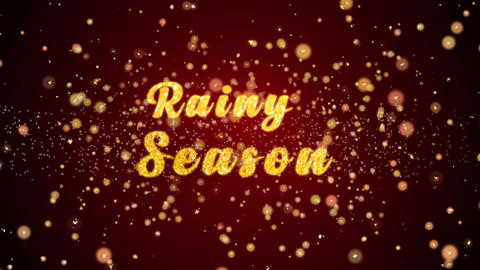 Rainy Season Greeting card text shiny particles for celebration,festival Animation