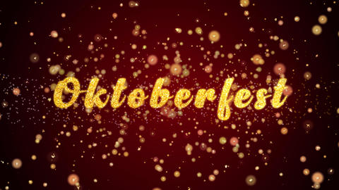 Oktoberfest Greeting card text shiny particles for celebration,festival Animation