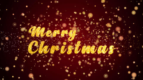 Merry Christmas Greeting card text shiny particles for celebration,festival Animation