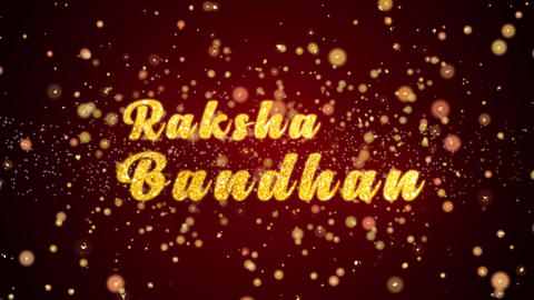 Raksha Bandhan Greeting card text shiny particles for celebration,festival Animation