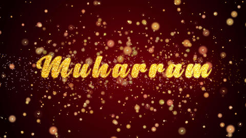 Muharram Greeting card text shiny particles for celebration,festival Animation