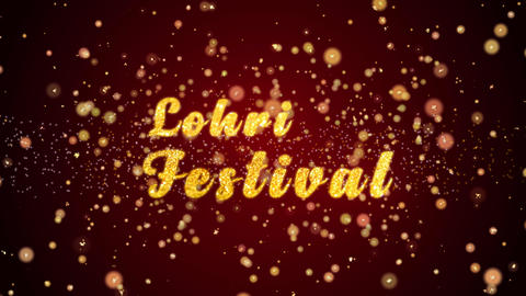 Lohri Festival Greeting card text shiny particles for celebration,festival Animation