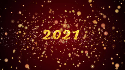 2021 Greeting card text shiny particles for celebration,festival Animation