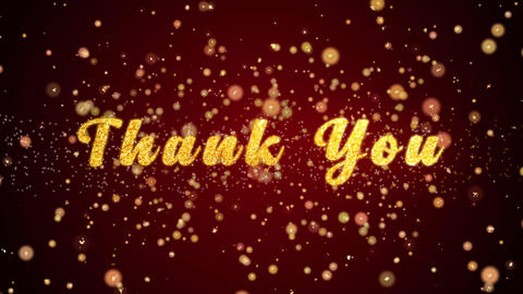 Thank You Greeting card text shiny particles for celebration,festival Animation