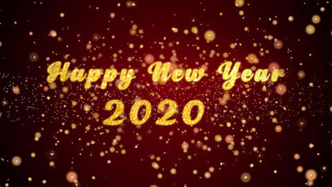 Happy New Year 2020 Greeting card text shiny particles for celebration,festival Animation