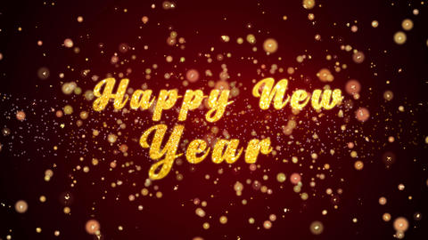 Happy New Year Greeting card text shiny particles for celebration,festival Animation