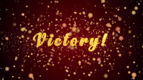 Victory Greeting card text shiny particles for celebration,festival Animation