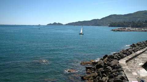 Sailing boat returning to the port of Rapallo Footage