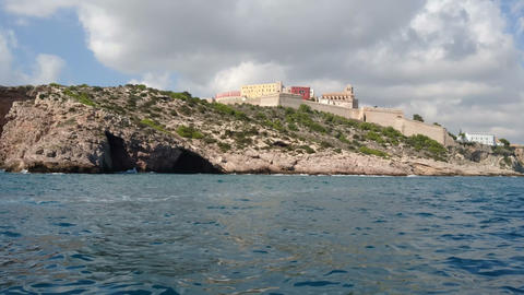 Ibiza old town seen from the sea Footage