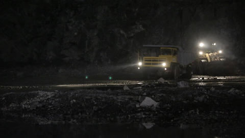 The truck goes to the night career 02 Footage