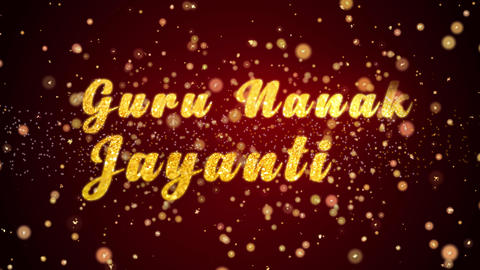 Guru Nanak Jayanti Greeting card text shiny particles for celebration,festival Animation