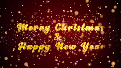 Merry Christmas & Happy New Year Greeting card text shiny particles for Animation