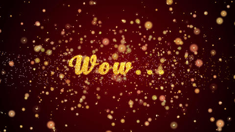 Wow Greeting card text shiny particles for celebration,festival Animation