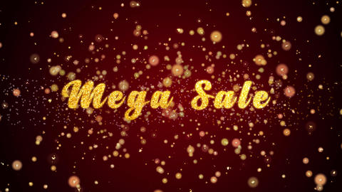 Mega Sale Greeting card text shiny particles for celebration,festival Animation